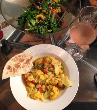 Weeknight Dinner - Cauliflower curry, Walnut Salad & Rosé Wine